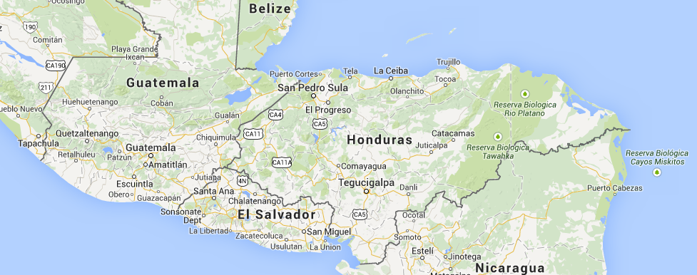 Location of El Salvador in Central America