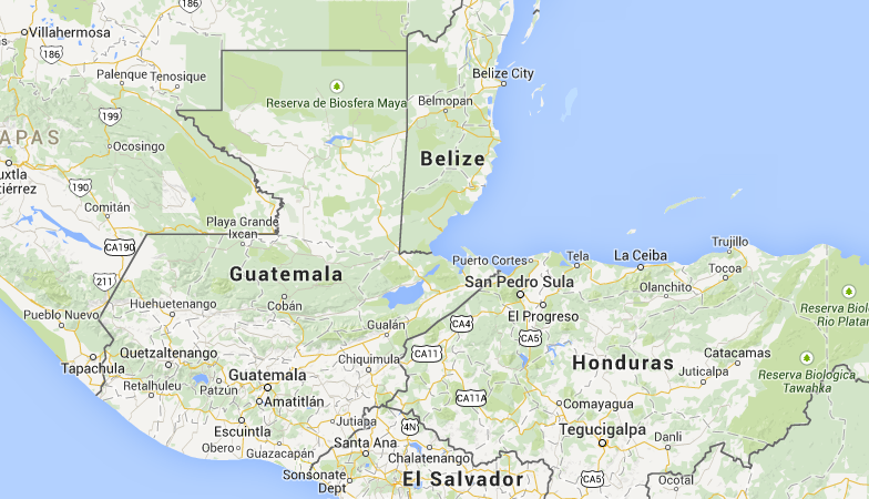Location of Guatemala in Central America