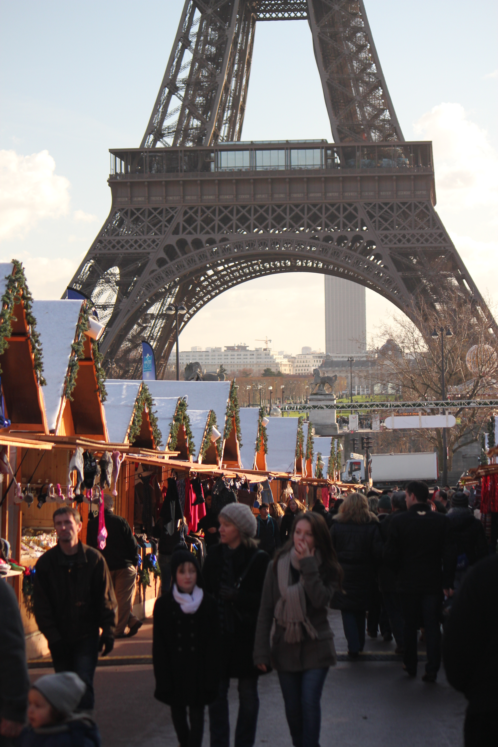 Eiffel Tower with Christmas Markets; Paris, France; 2011