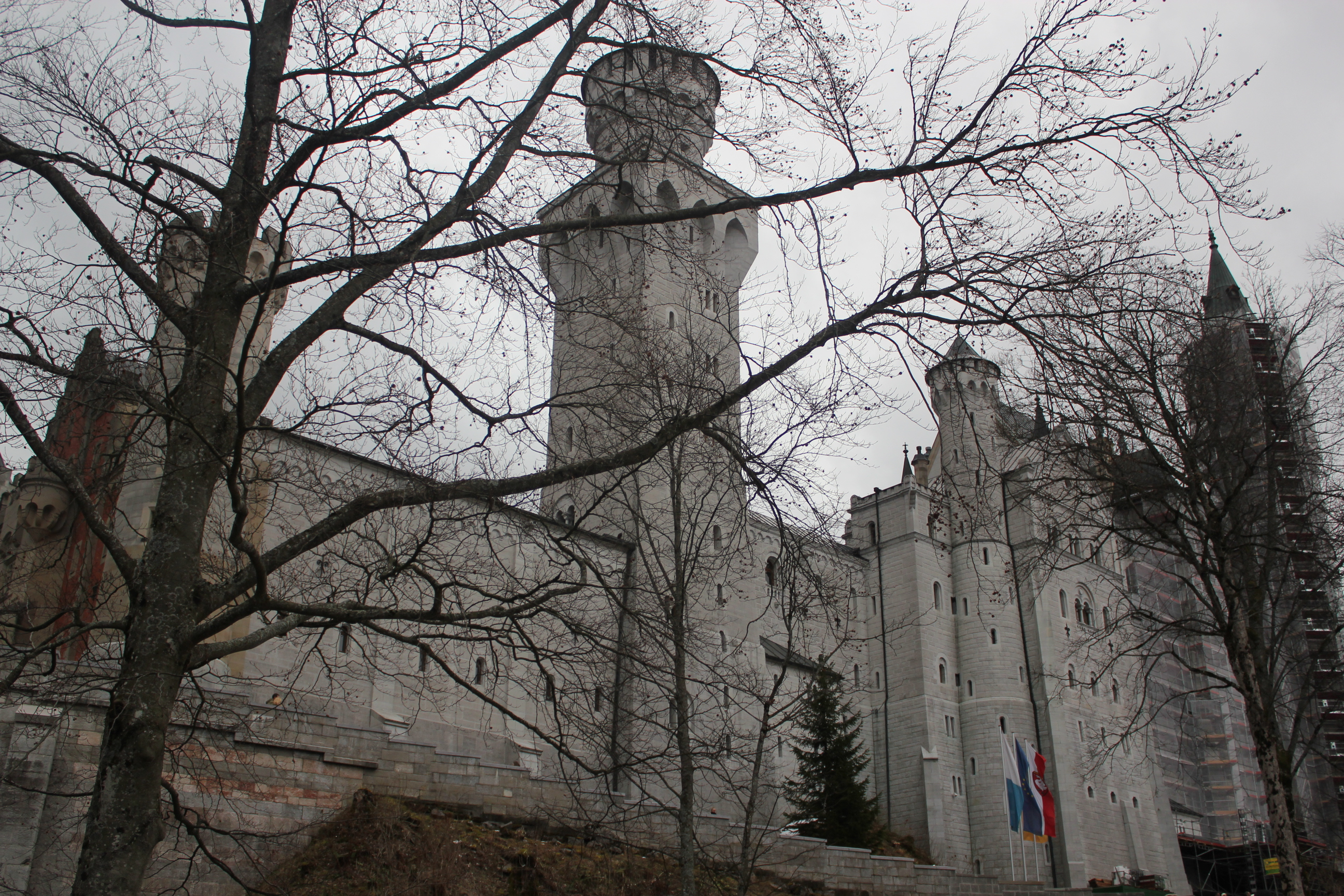 Back of Neuschwanstein Castle; Schwangau Village, Germany; 2012