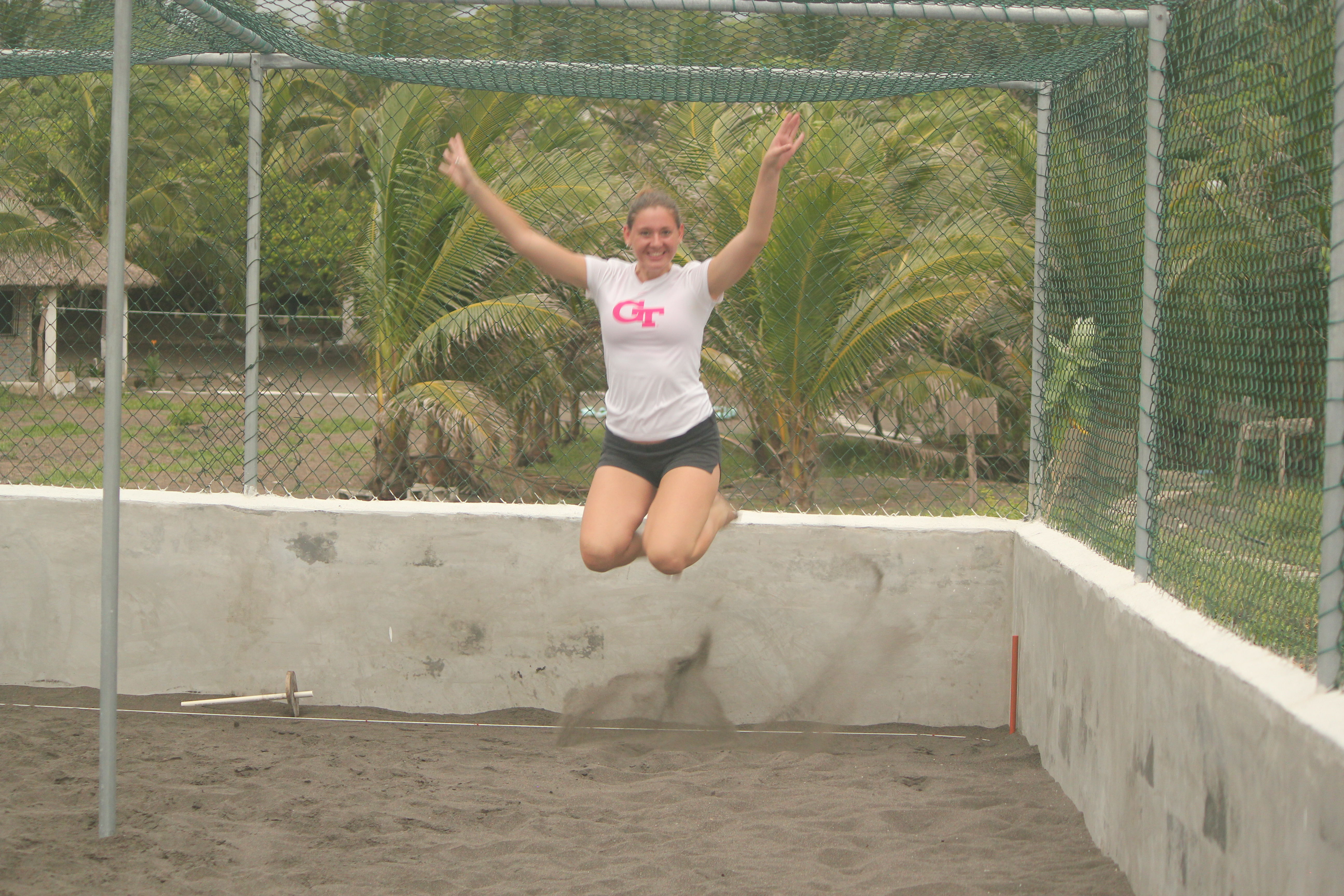 Bridgette Partaking in Her Own Signature Jumpin' Photographs; Monterrico, Guatemala; 2013