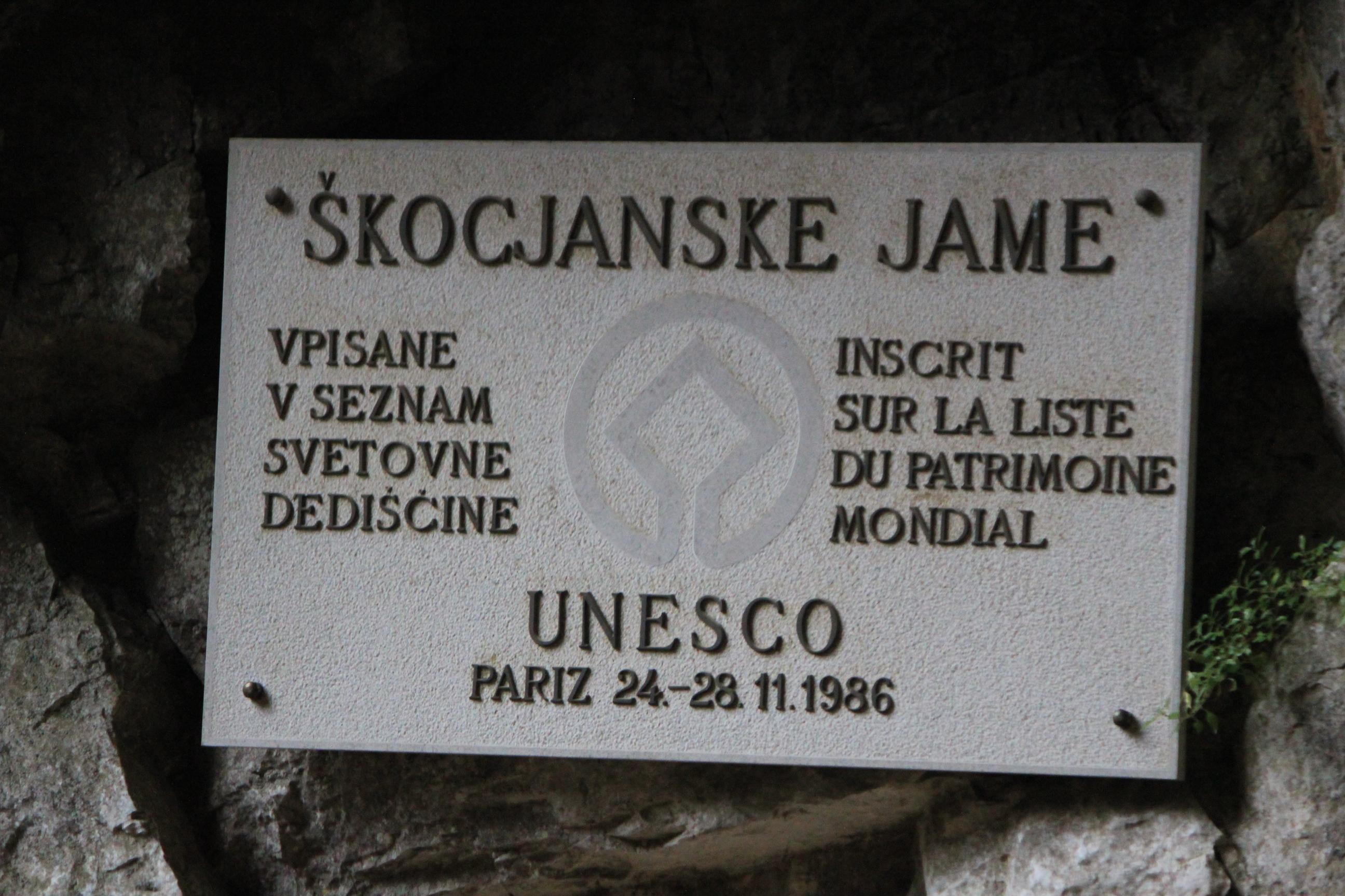 UNESCO World Heritage Site; Skojcan Caves; Slovenia; 2011