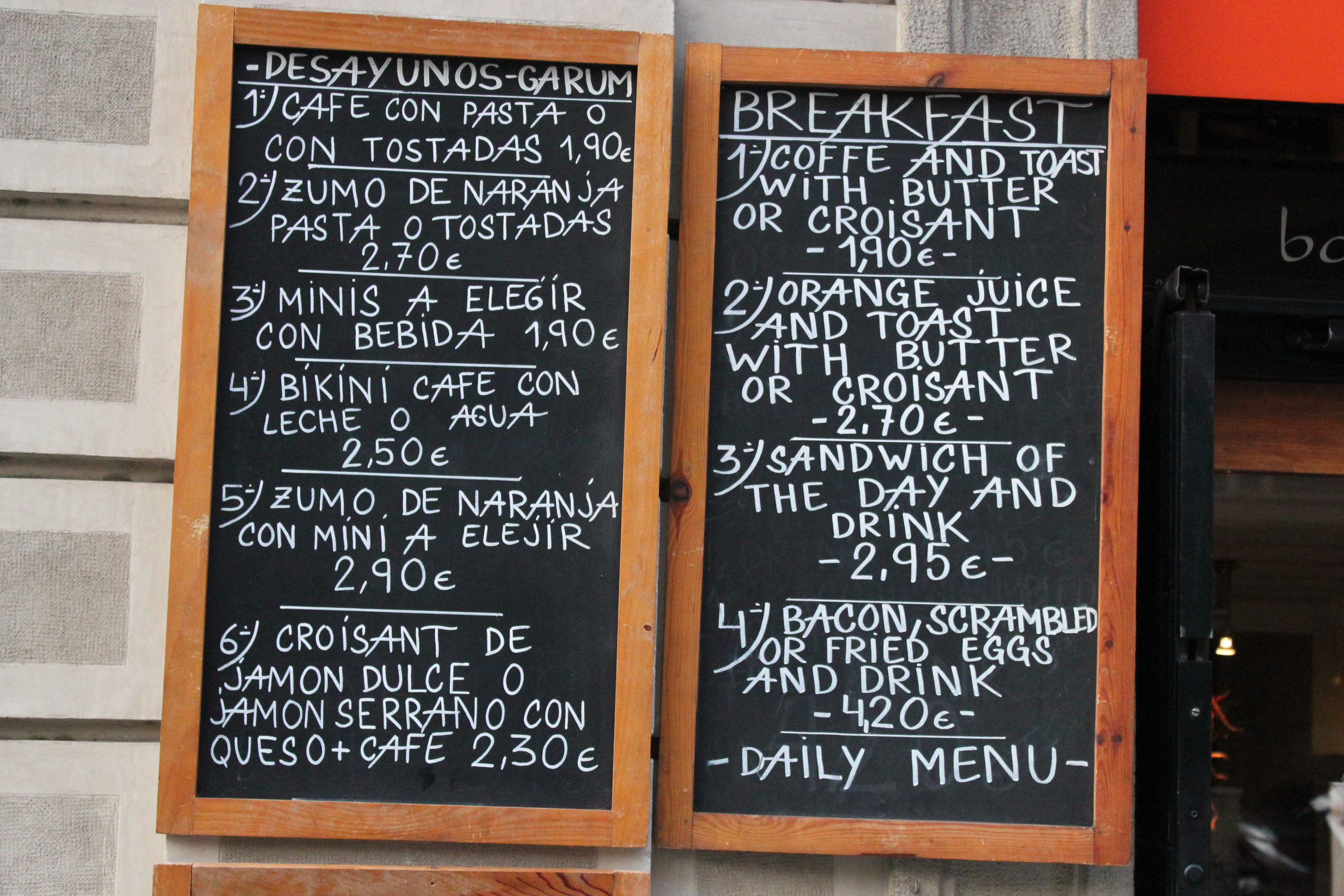 Spanish Menu; Barcelona, Spain; 2012