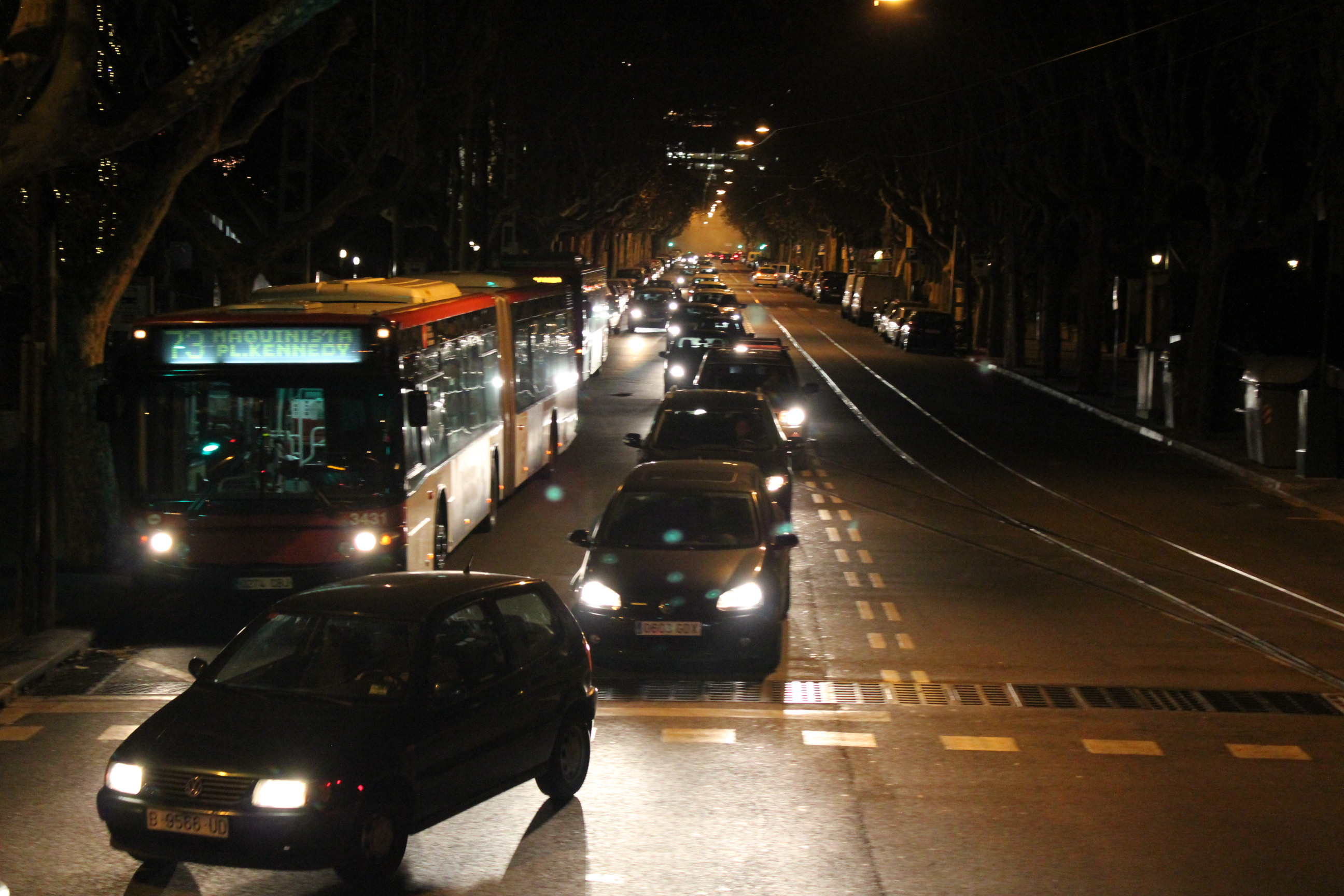 Nighttime Traffic; Barcelona, Spain; 2012