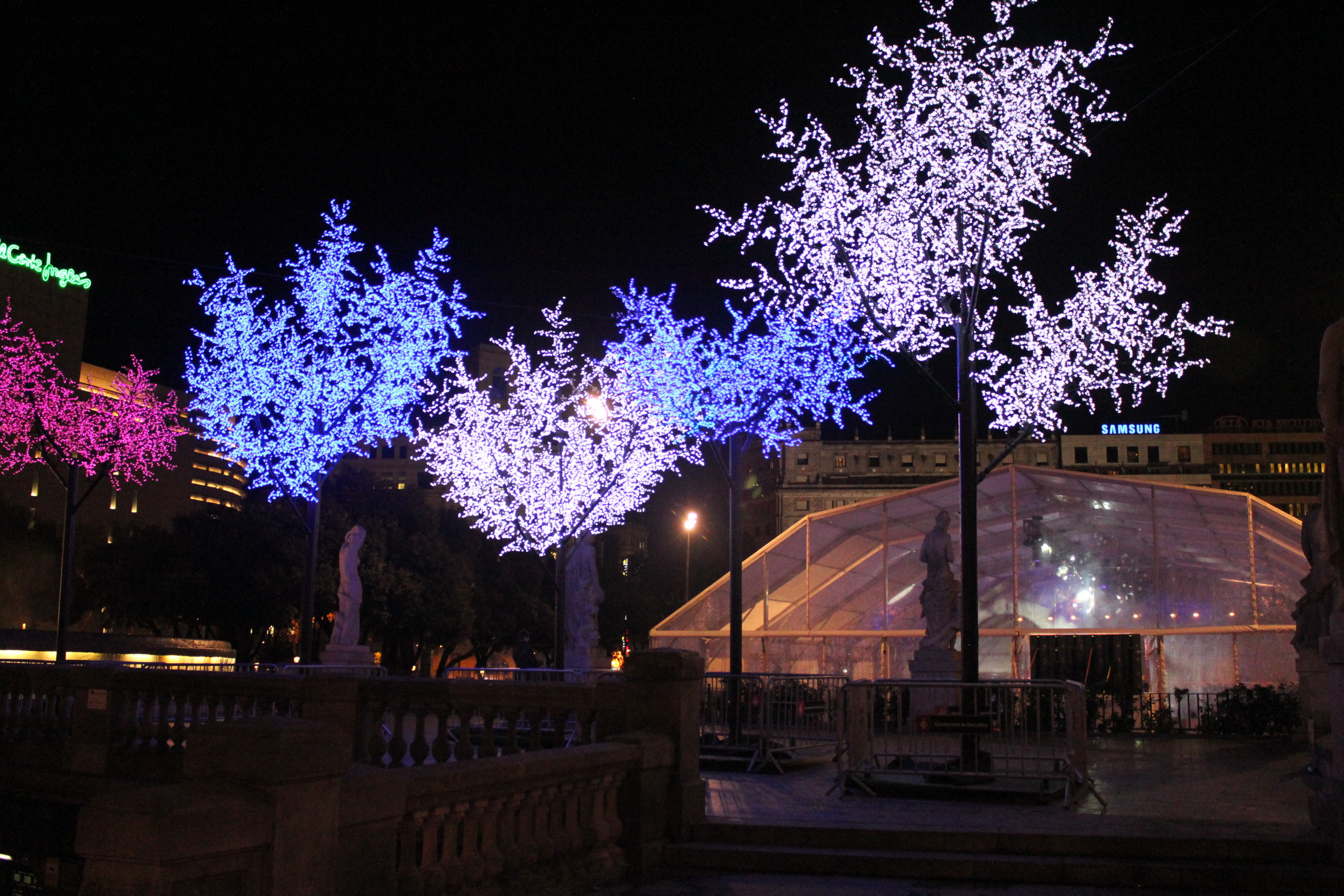 Multiple Lit Christmas Trees; Barcelona, Spain; 2012