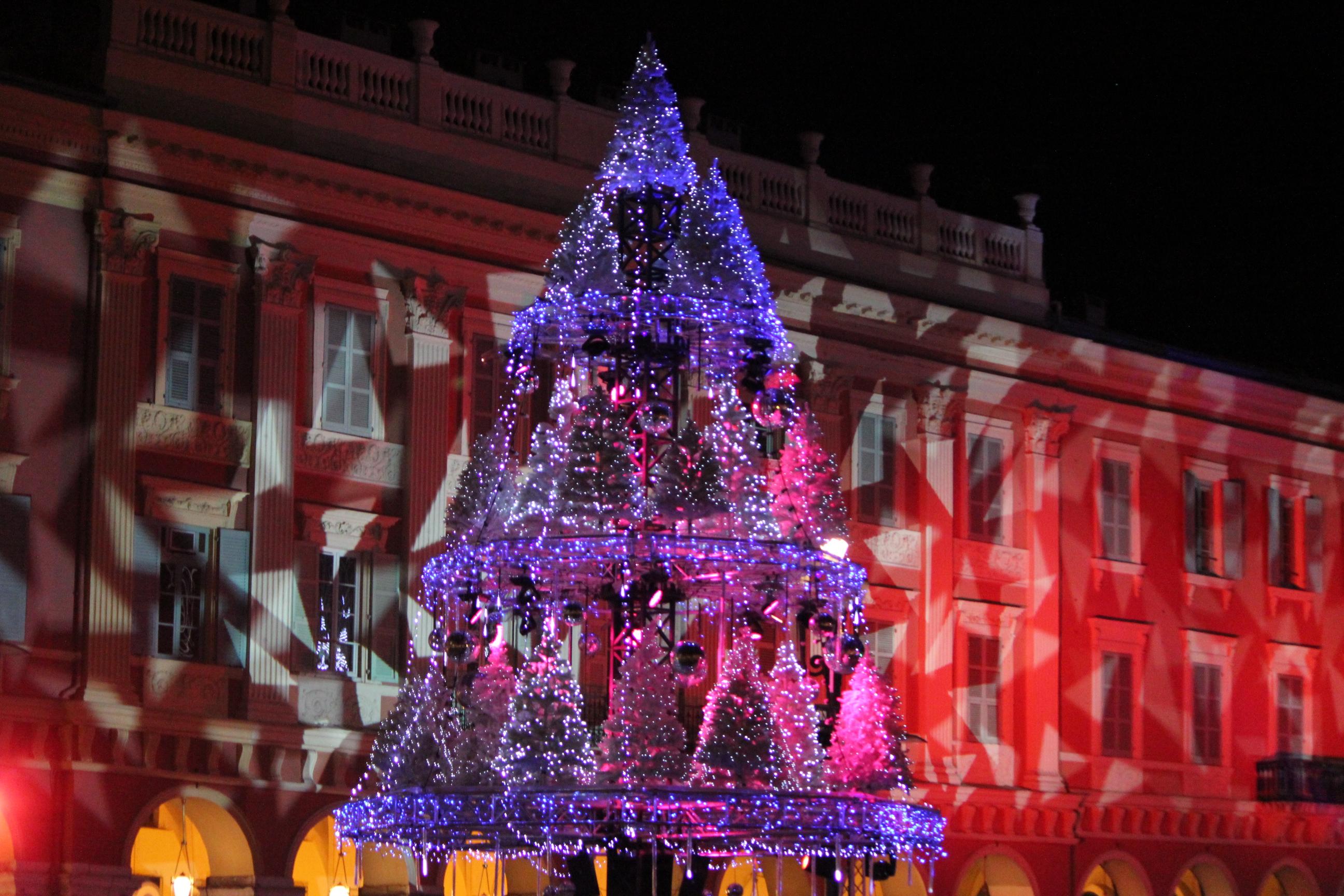 Christmas Tree with Lights; Nice, France; 2011