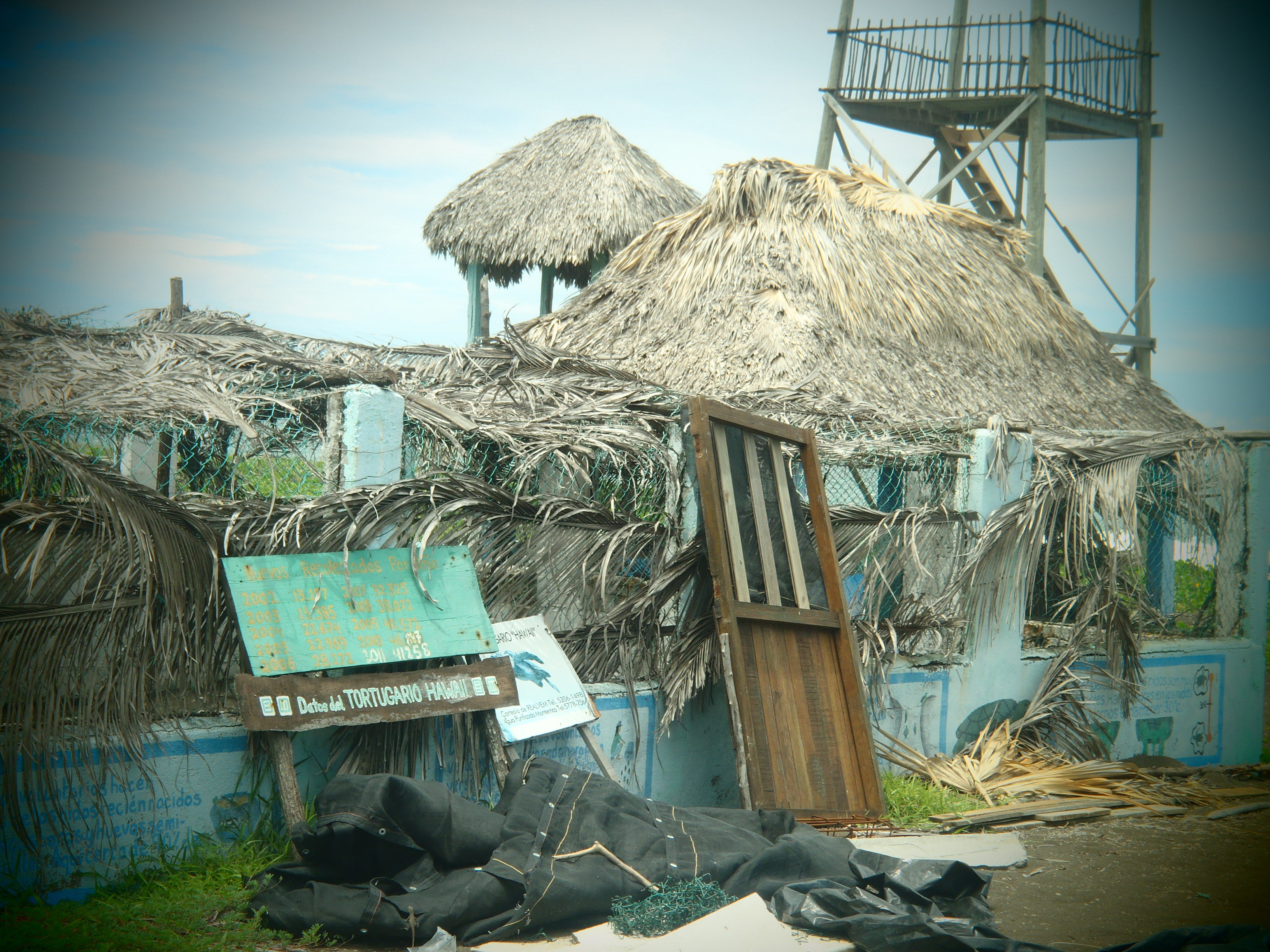Hurricane Damage to Sea Turtle Hatchery; Monterrico, Guatemala; 2013