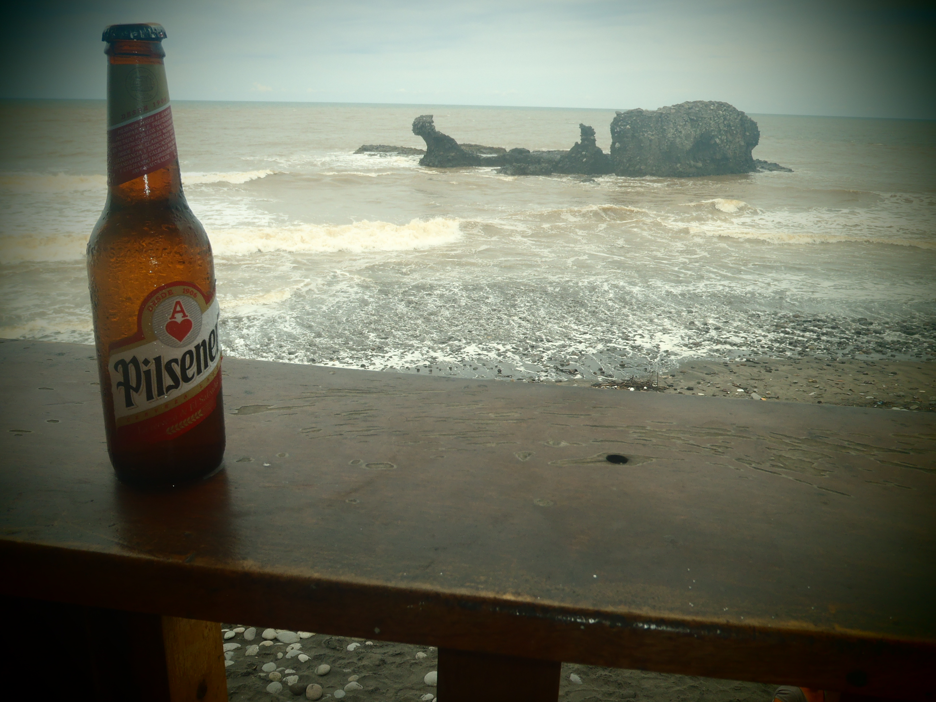 Pilsener with Rocky Beach; El Tunco, El Salvador; 2013