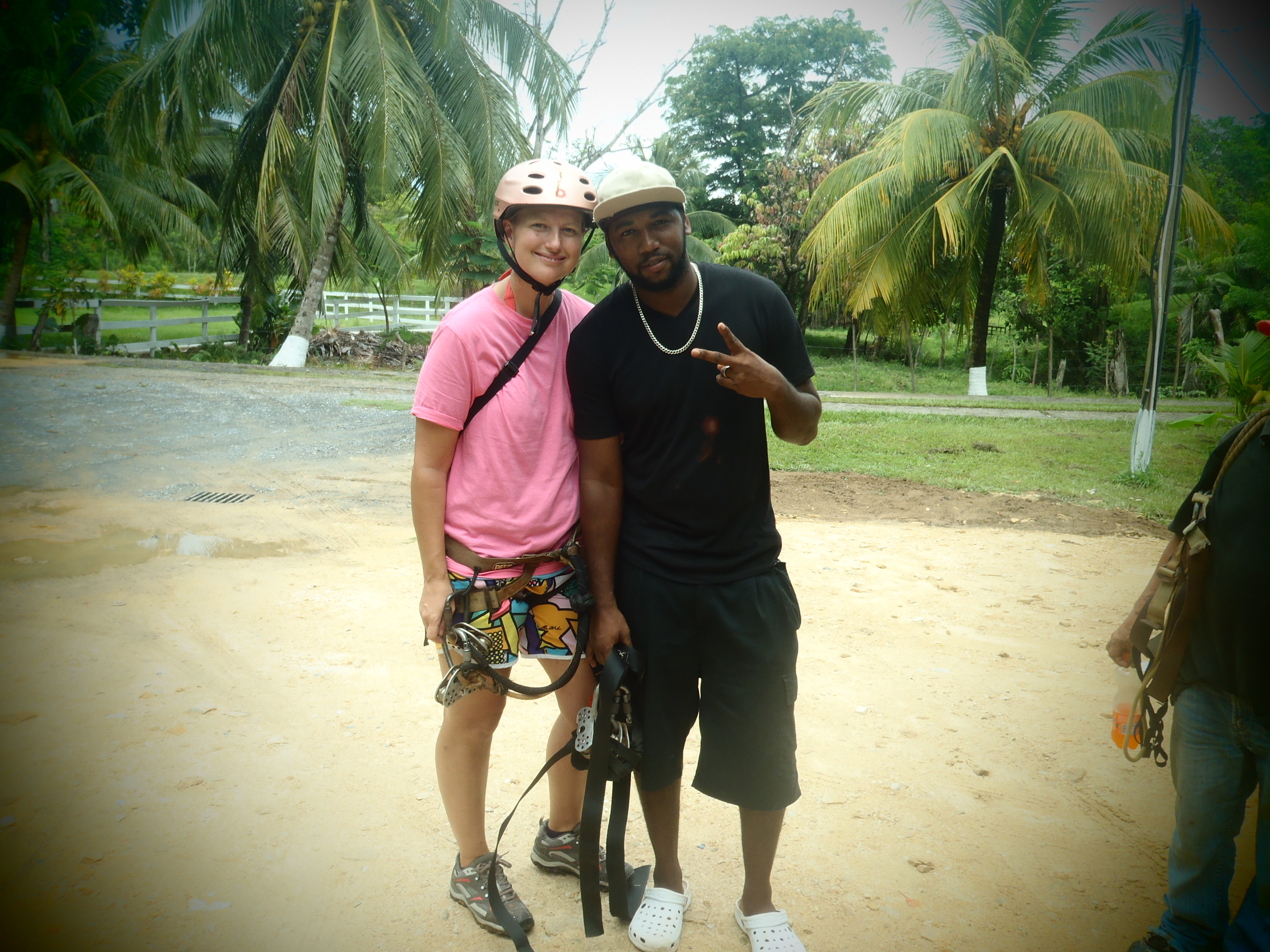 Posing with My Zip Line Guide; Roatan, Honduras; 2013