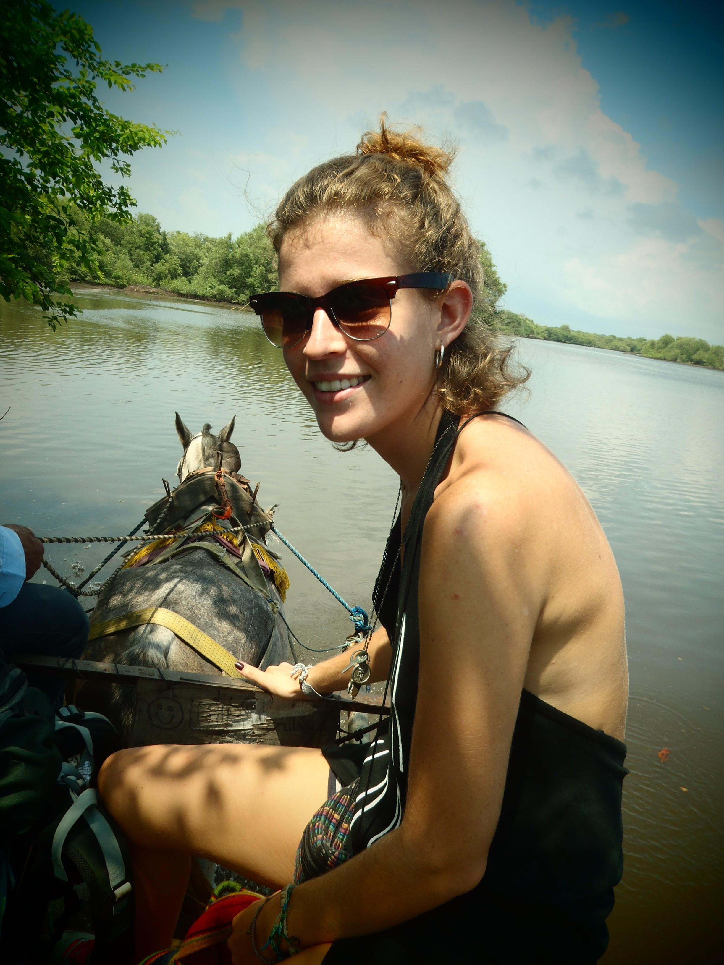 Kat on Horseback Across the River; Isla Los Brasiles, Nicaragua; 2013