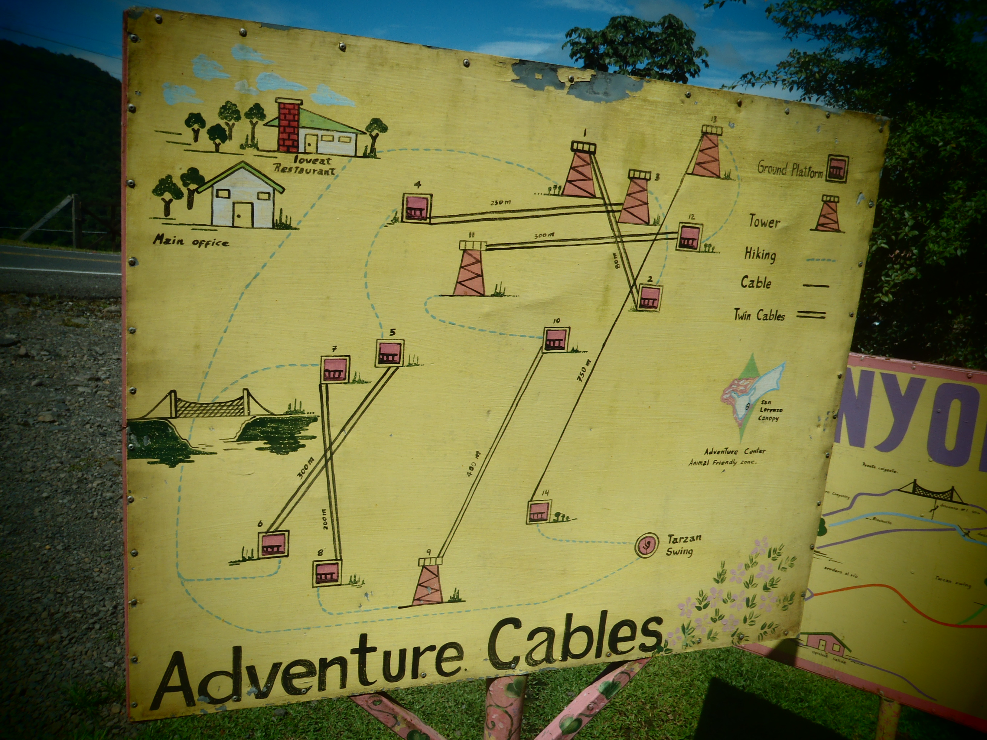 A Look at a Canopy Tour's Adventure Cables; Costa Rica; 2013