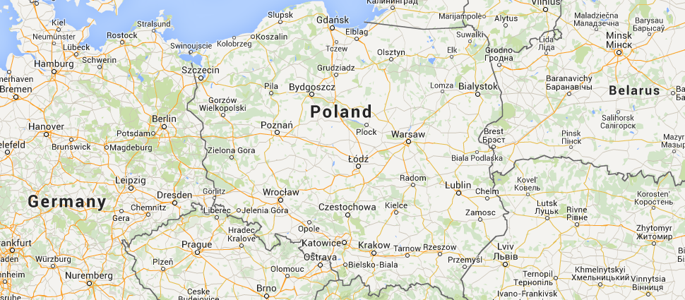Location of Poland in Europe