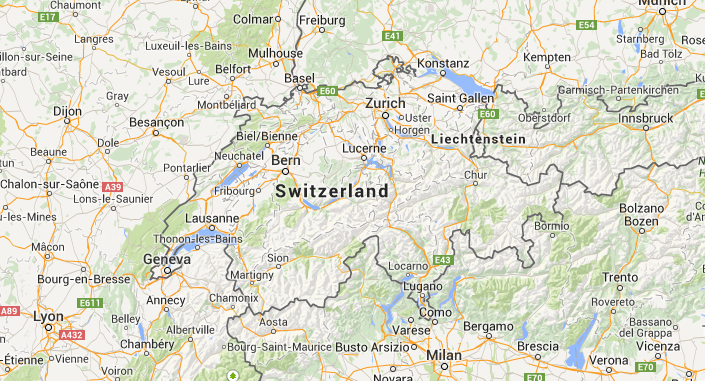 Location of Switzerland in Europe