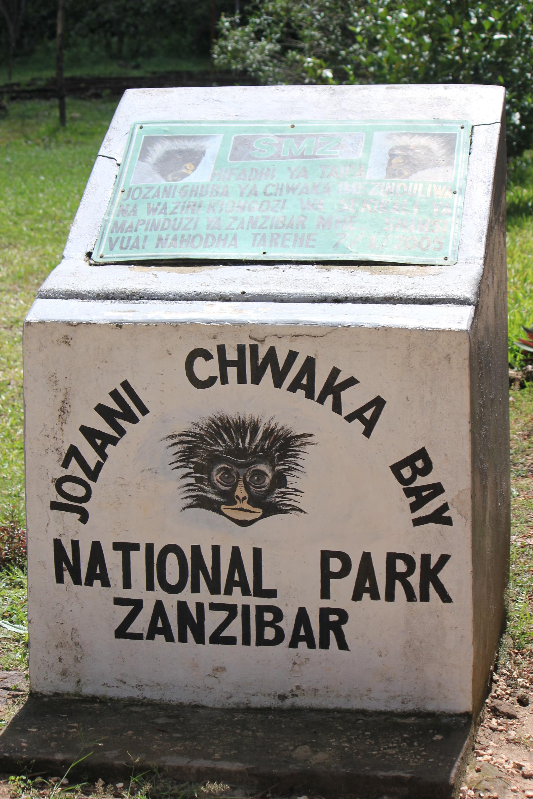 Park Sign; Jozani Chwaka Bay National Forest, Zanzibar, Tanzania; 2011