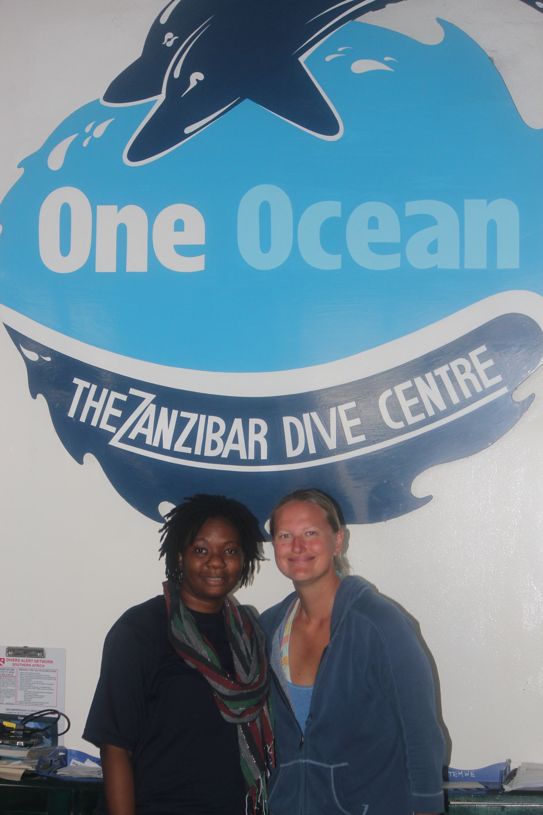 Pam and I at One Ocean Dive Centre; Stone Town, Zanzibar, Tanzania; 2011
