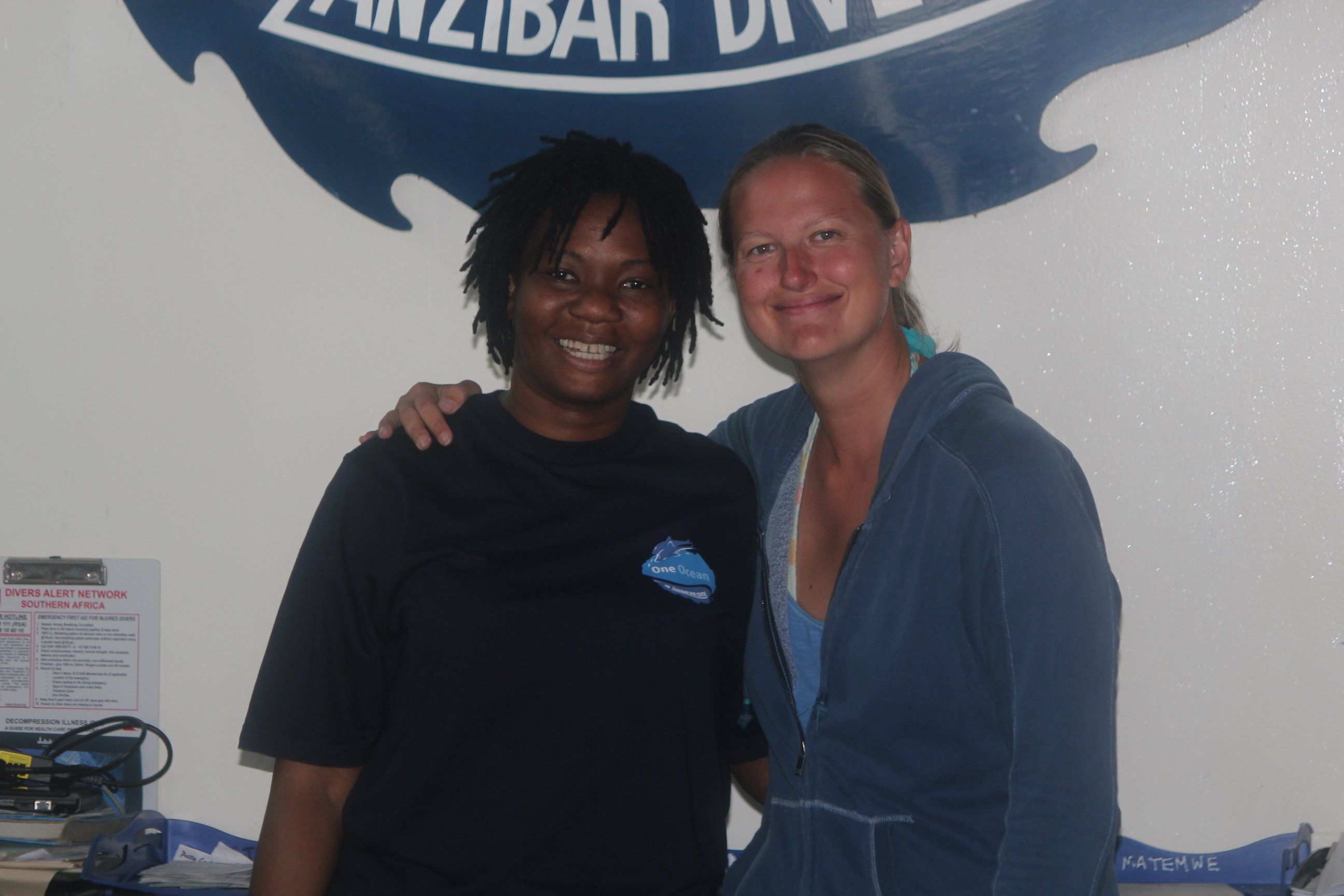 Close-up Pam and I at One Ocean Dive Centre; Stone Town, Zanzibar, Tanzania; 2011