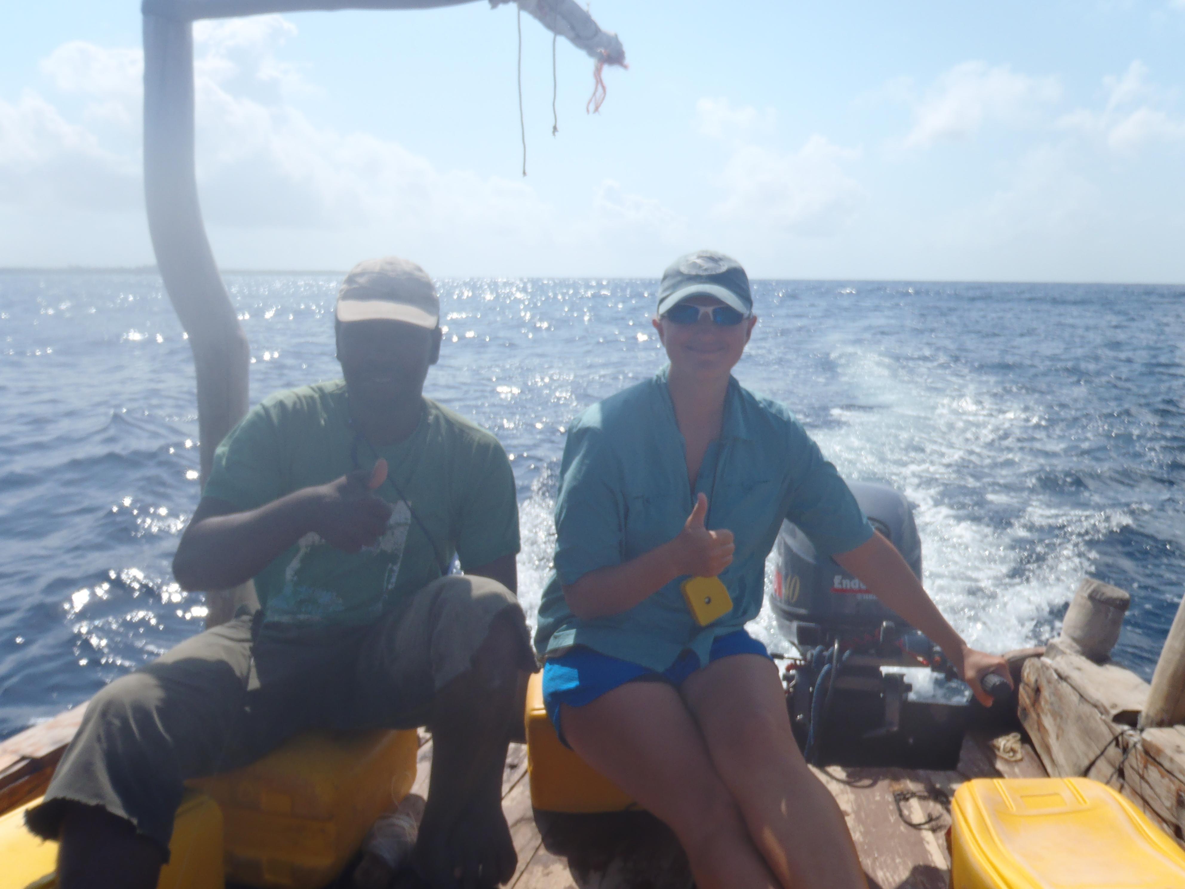 Driving the Research Boat; Kizimakzi Dimbani, Zanzibar, Tanzania; 2012
