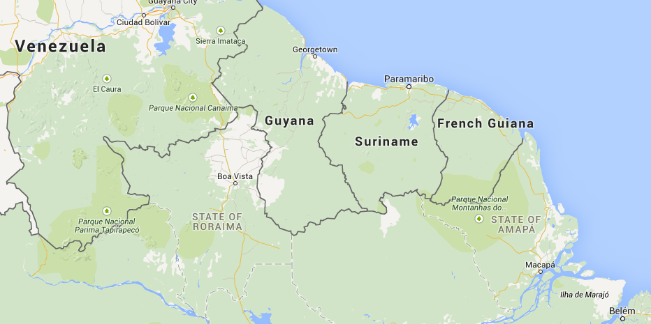 Location of Suriname in South America