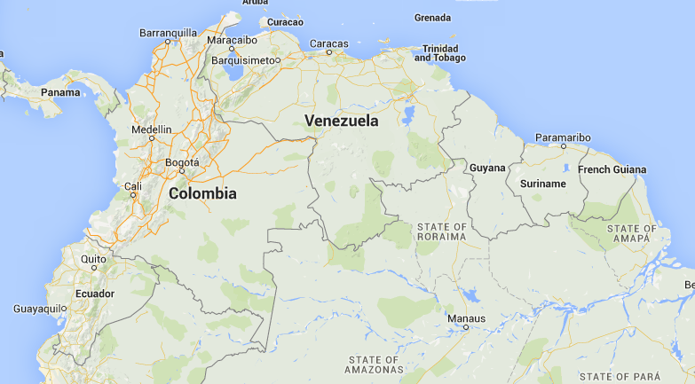 Location of Colombia in South America