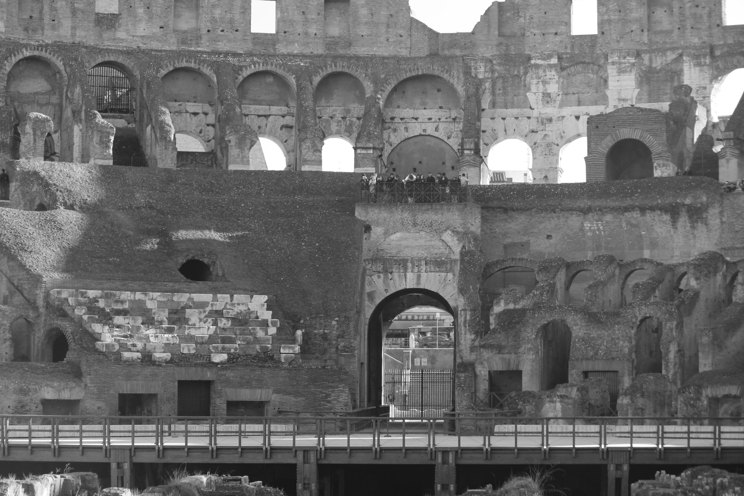 Inside the Colosseum in Black-n-White; Rome, Italy; 2011