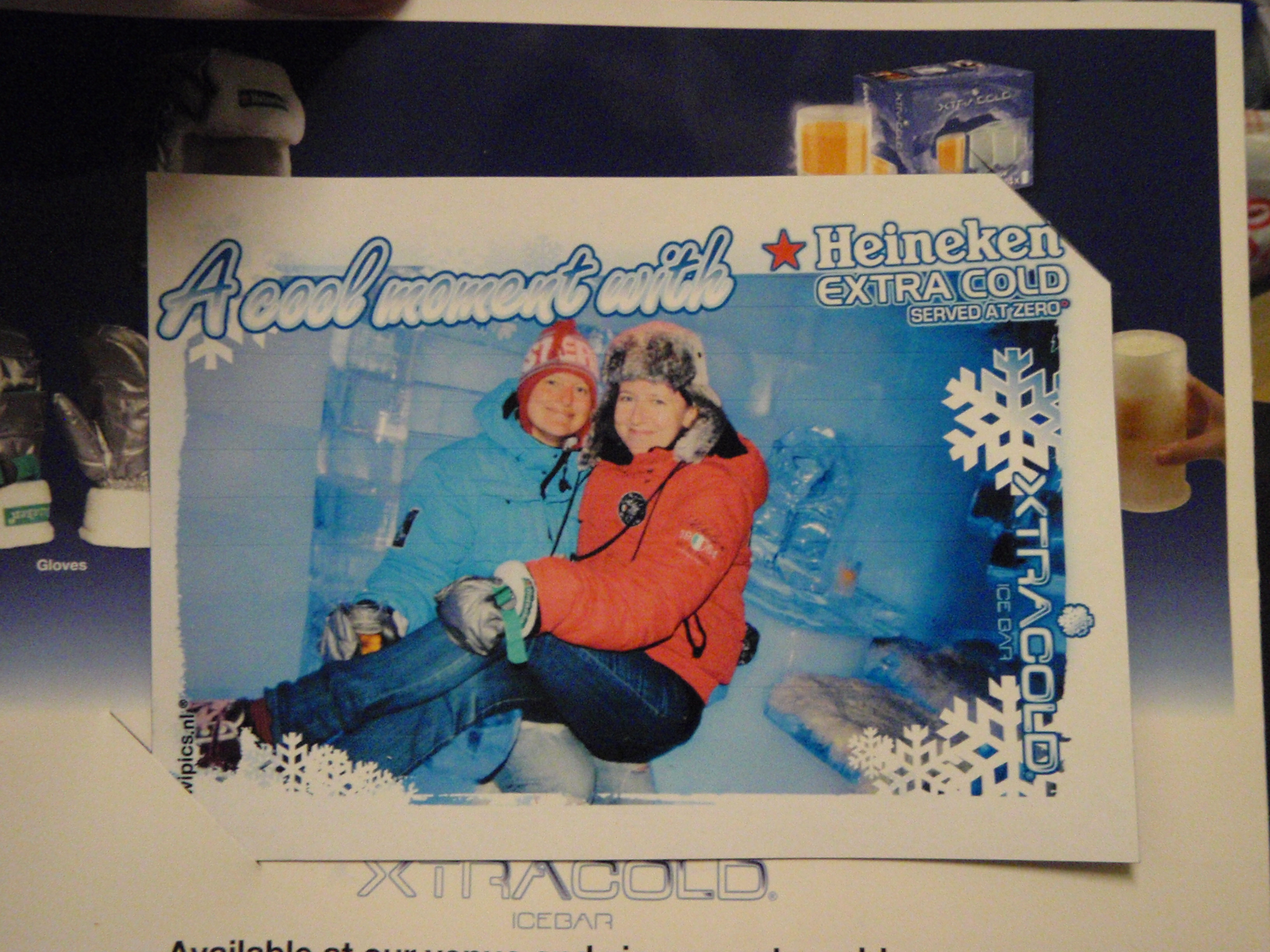 Polish Best Mate, Beata and I Ice Bar Souvenir; Amsterdam, Netherlands; 2010