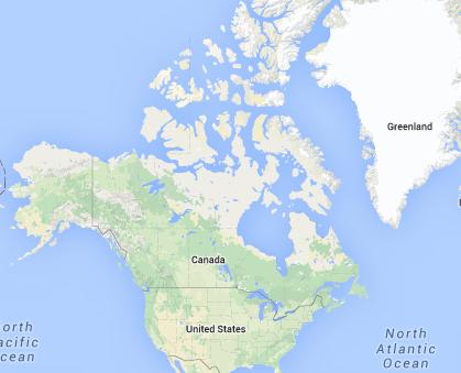 Location of Canada in North America