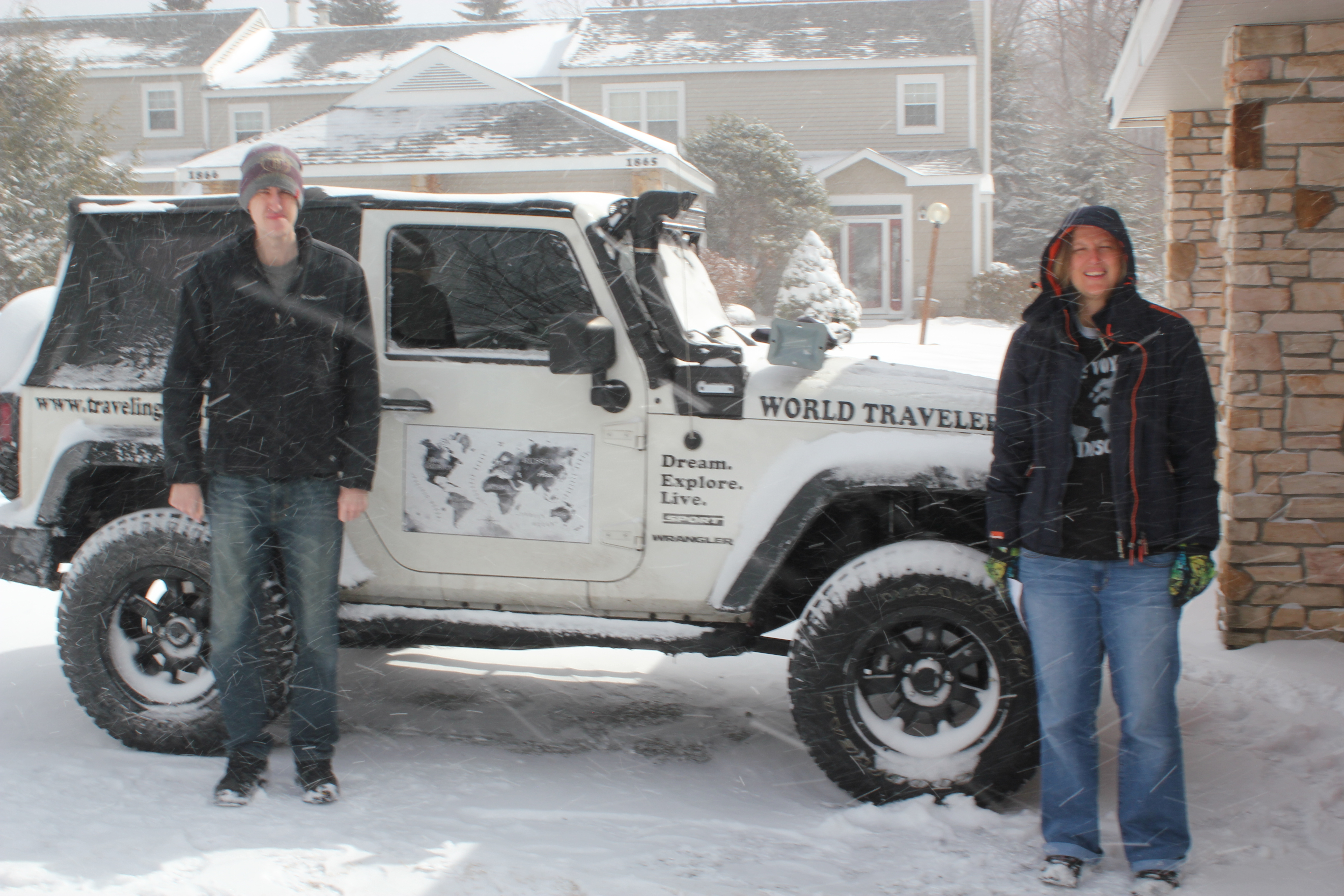 Oakley (Jeep Wrangler), Josh, and I; Snowy Temps; 2015