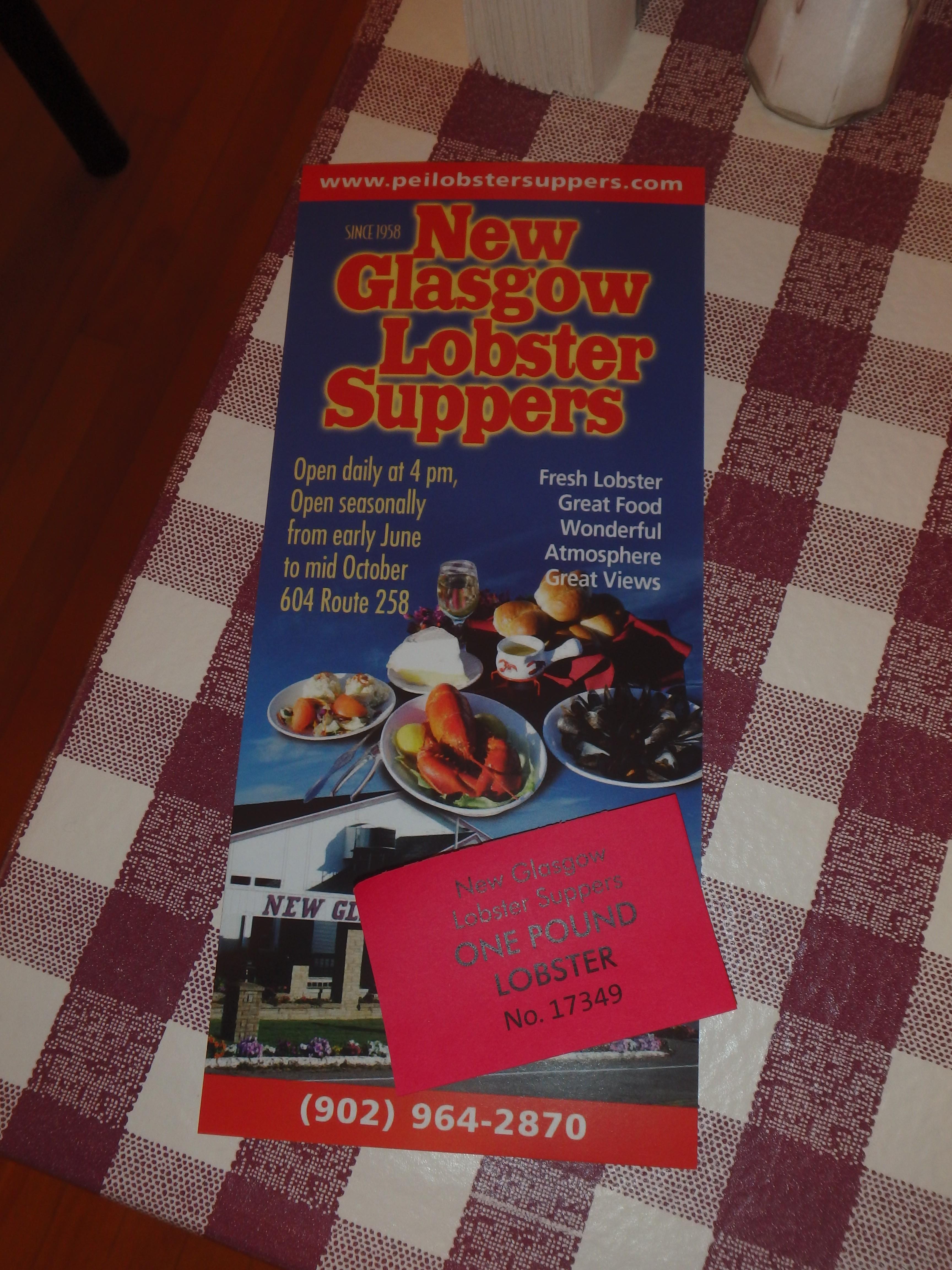 Lobster Ticket + Brochure; New Glasgow, Prince Edward Island; 2015