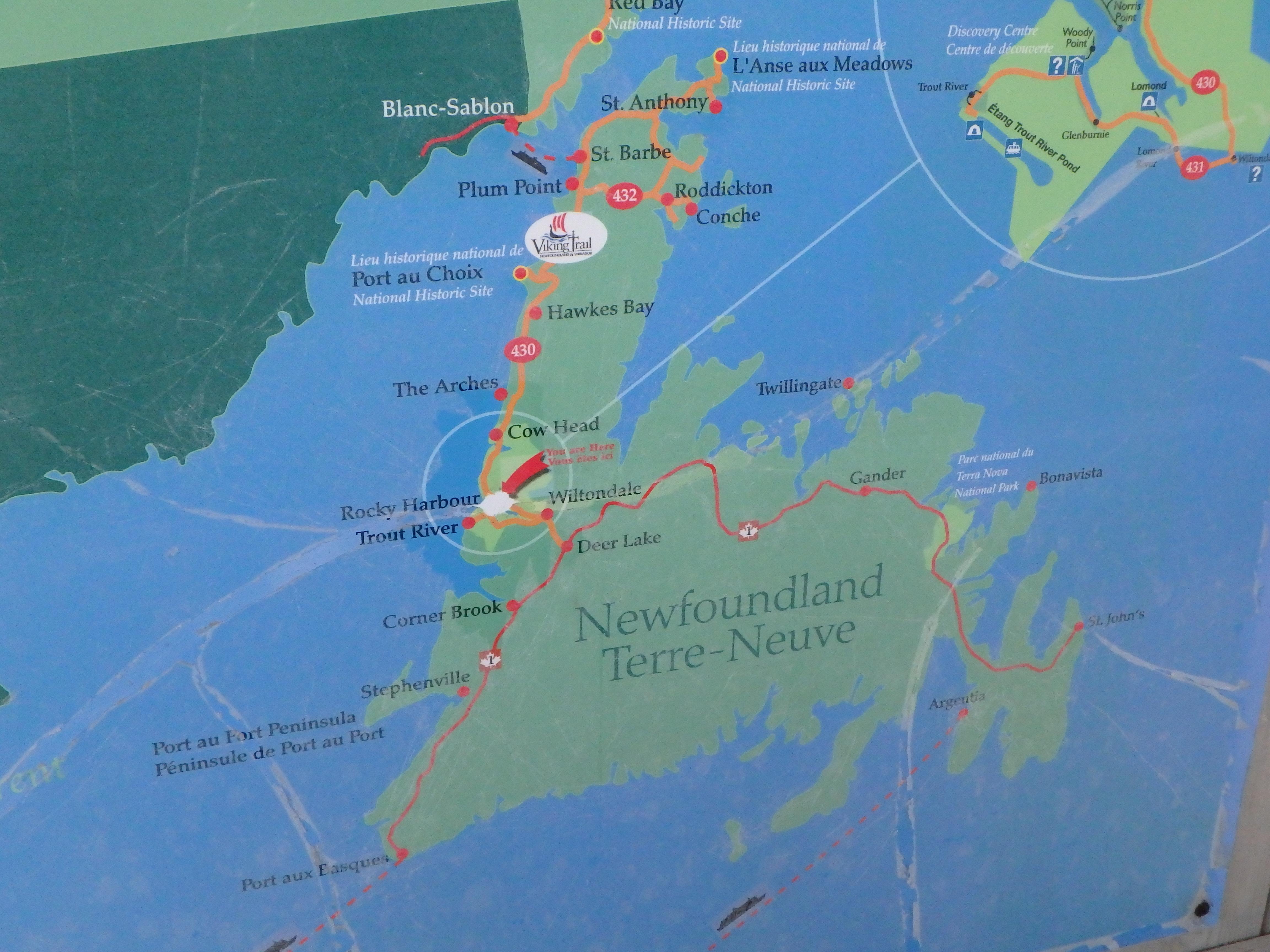 Newfoundland Map; Bonne Bay Marine Station, Newfoundland; 2015