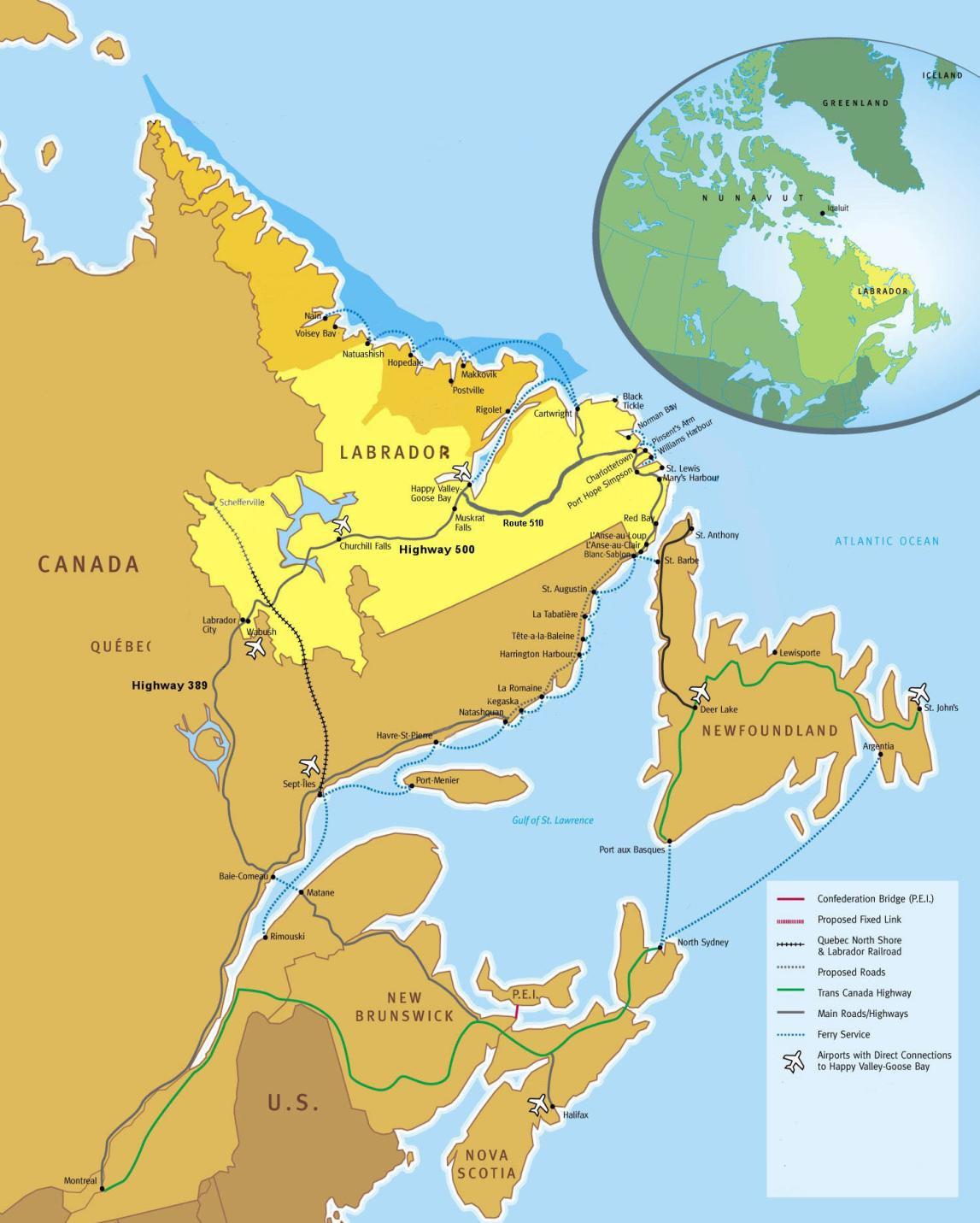 Roadmap of The Trans Labrador Highway
