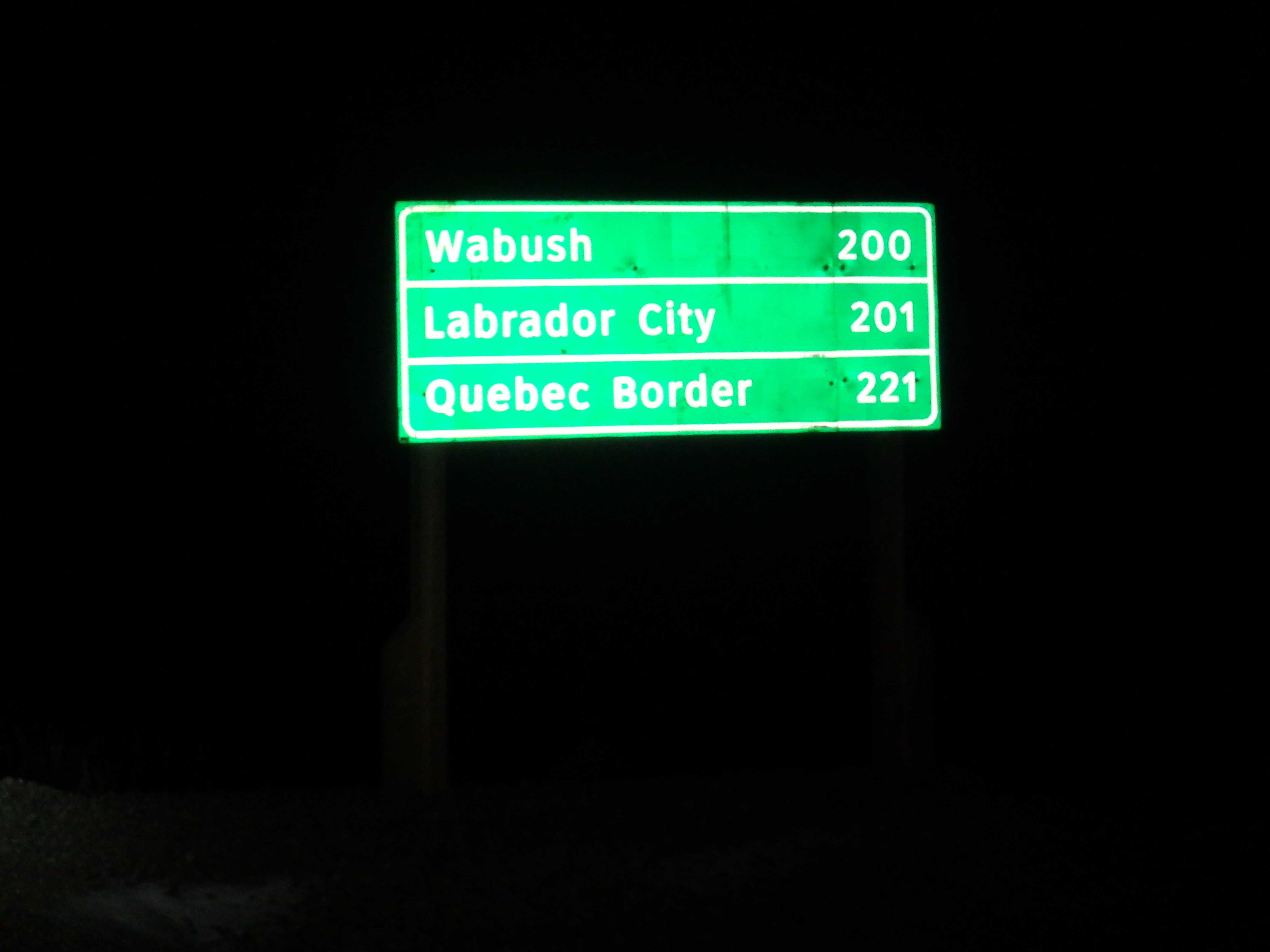 Distance from Churchill Falls to Quebec Border; Labrador; 2015